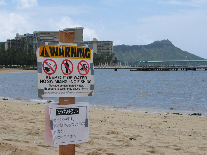 Sewage Warning Sign at Waikiki Beach